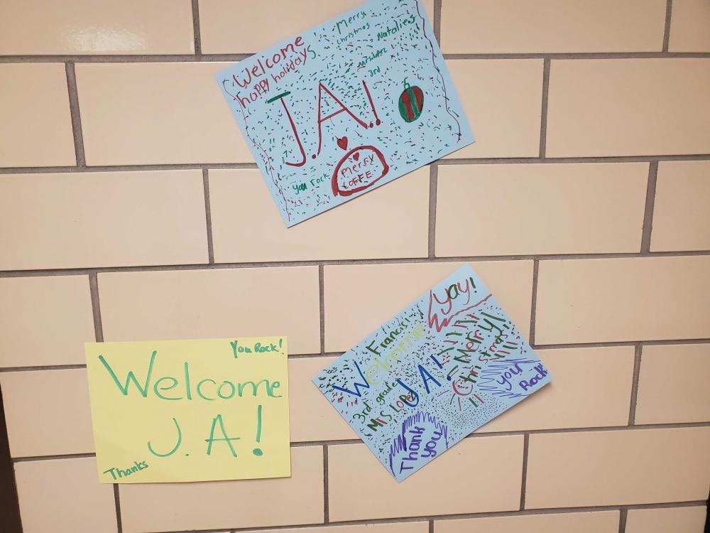 Signs that say Welcome JA