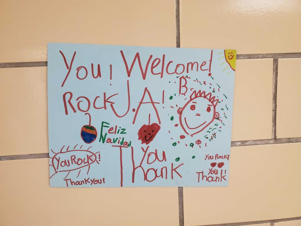 Sign that says Welcome JA, You Rock! Thank You!